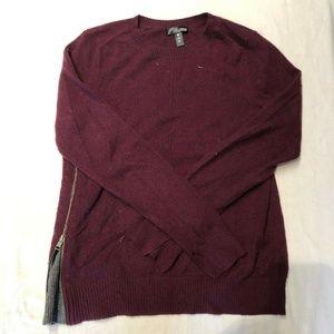 Aqua Cashmere Women's Cashmere Maroon Sweater M